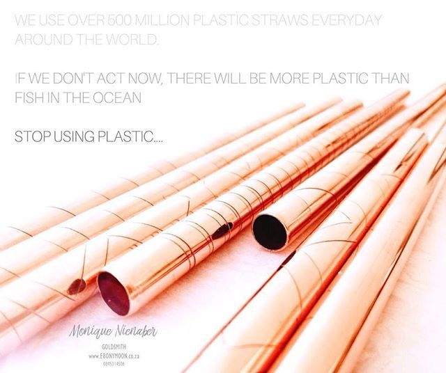 The truth is that we use and discard over 500 million plastic straws a day around the world. This all ends up in our precious oceans and adds to the monumental issue of pollution... So #Stopsucking on plastic and get on board the eco trend of using anti-microbial copper straws.  Great as a gift a stylish accessory or cool addition to your bar. See more about the different types sizes and looks they come in at www.ebonymoon.co.za  #eco #saveourocean #ebonymoon #stopplasticstraws #savetheworld…
