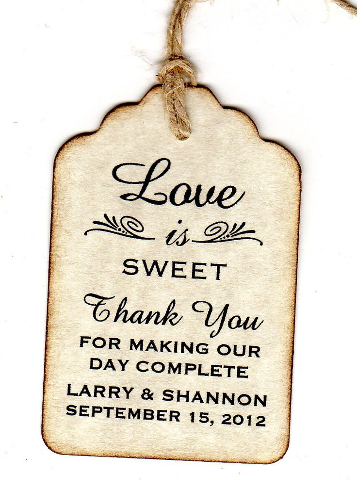 Wedding Tags Love Is Sweet Personalized Favor Thank You Gift Tags
