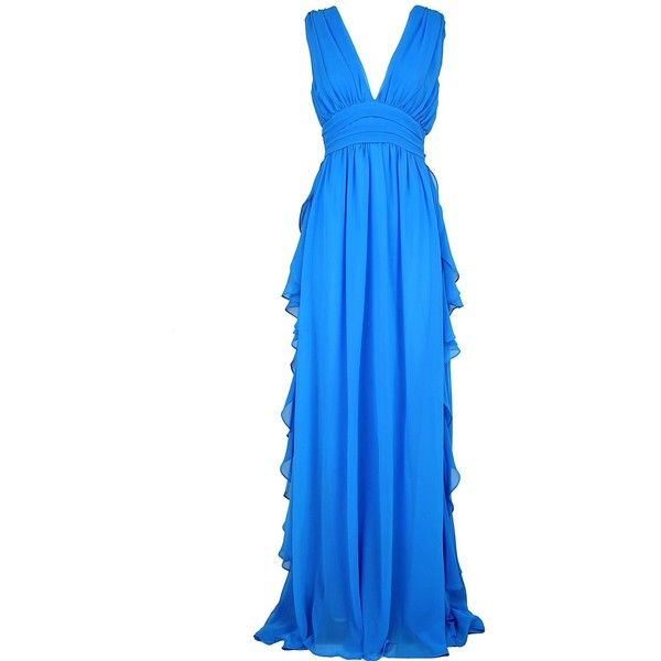 Fluted Ruffles Chiffon Maxi Dress (1.060 BRL) ❤ liked on Polyvore featuring dresses, gowns, bluette, womenclothingdresses, blue evening gown, sleeveless maxi dress, empire waist maxi dress, blue evening dresses and empire waist gown
