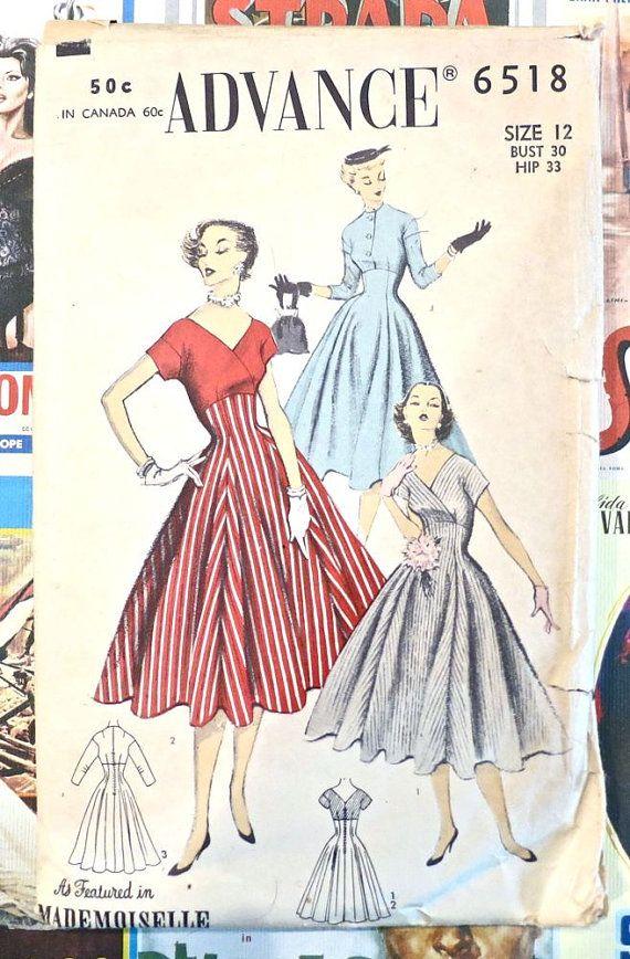 Advance 6518  Vintage 1950s Full Skirt Dress Pattern by Fragolina