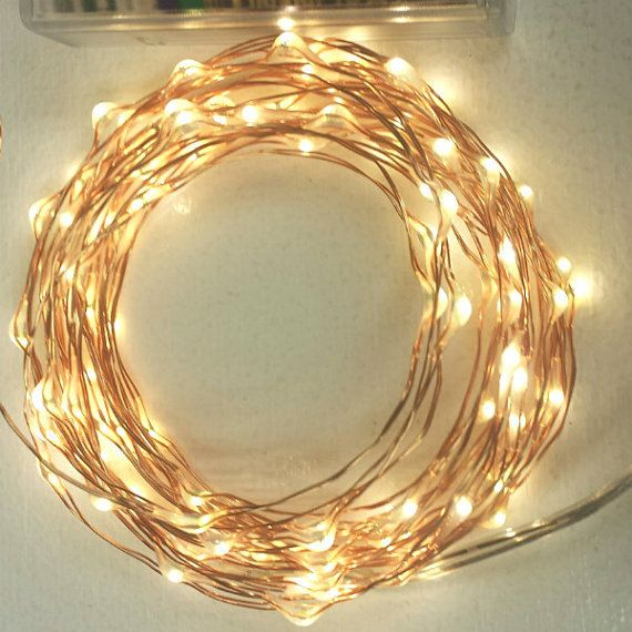 100 Fairy Lights on a 17-foot (5m) copper wire strand. Battery-operated or plug-in string lights with a timer.