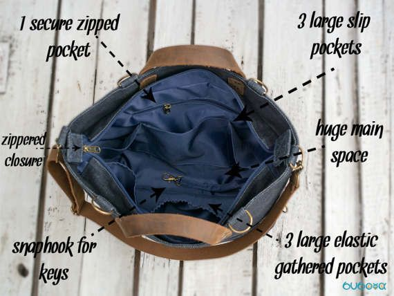 FREE SHIPPINGWAXED Diaper Bag Denim Bag Leather