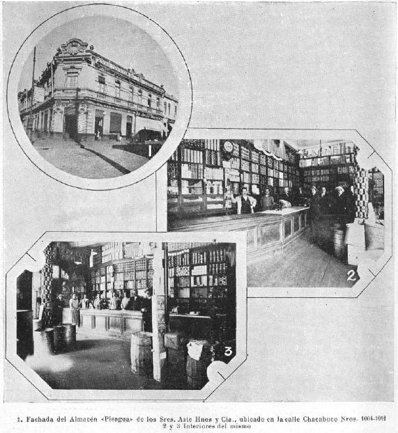 Fachada del Almacén Pisagua de Aste Hnos.,  app.Año 1926         ---    Ubicado en calle Chacabuco.