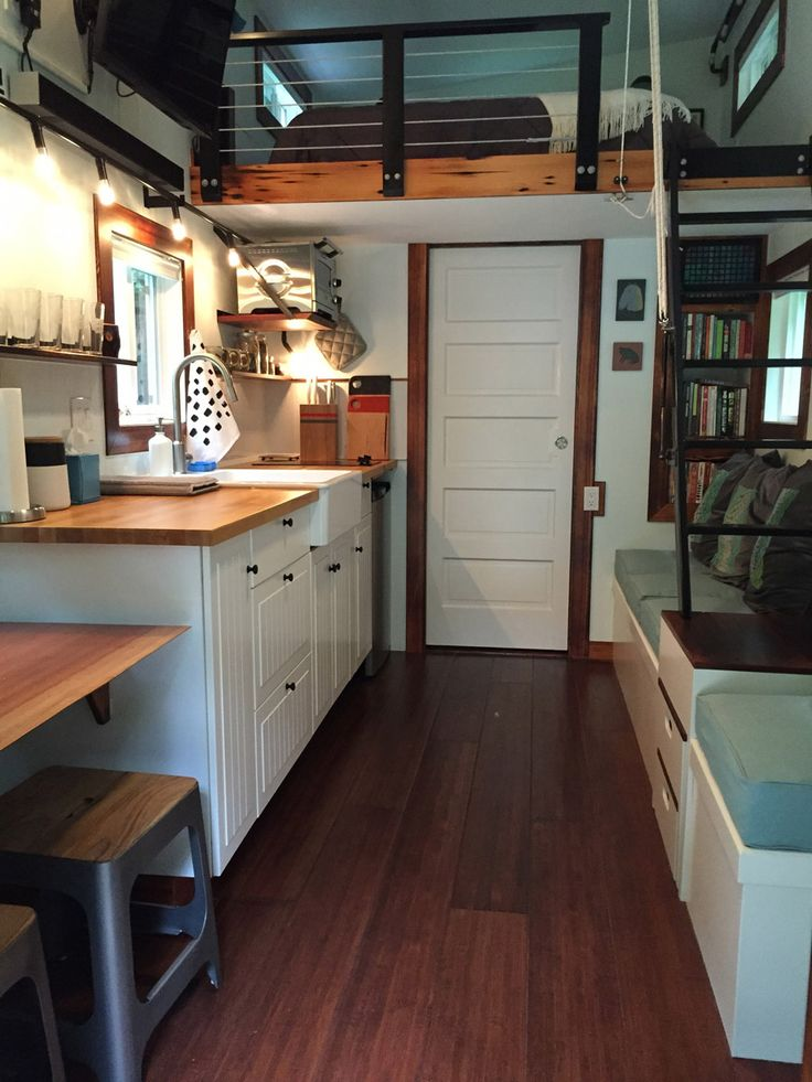 I like the pull out stair drawers uder the ladder to the for 2 bedroom tiny house