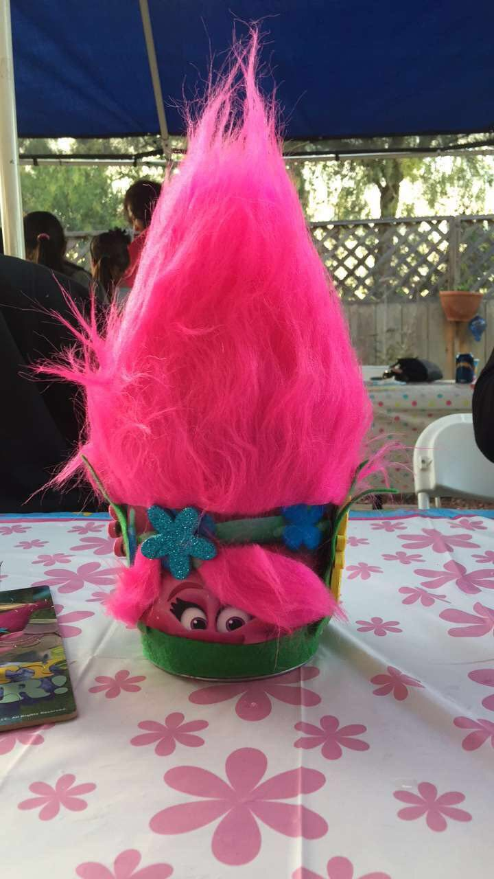 Trolls Centerpieces that I made. Trolls Birthday party.