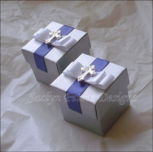 Silver #BaptismFavor Box With #Cross, Royal Blue And White Accents. https://www.etsy.com/shop/JaclynPetersDesigns