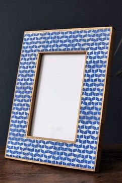 Ikat Indigo Blue Photo Frame - 4x 6 - Rectangle Design mediterranean-picture-frames