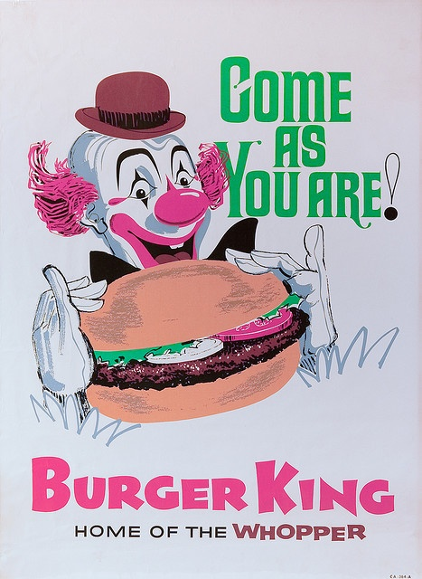 Vintage Burger King PosterKing Clowns, Picture-Black Posters, King Posters, Classic Advertising, 1960S Burgers, Pinup Posters Postcards, Fast Food, King King, Burgers King