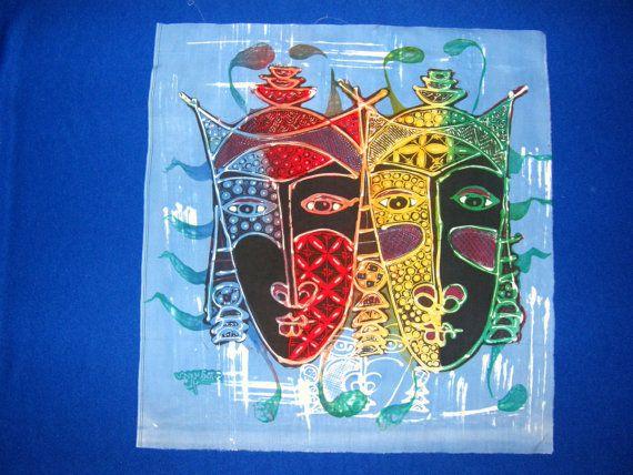 bir sürü renk ile çalışmak - - Endonezya Batik - Mavi 1. İki Maskeler, bu Frame bir yorgan için kullanmak, duvara asılı, kadın çantası, atmak