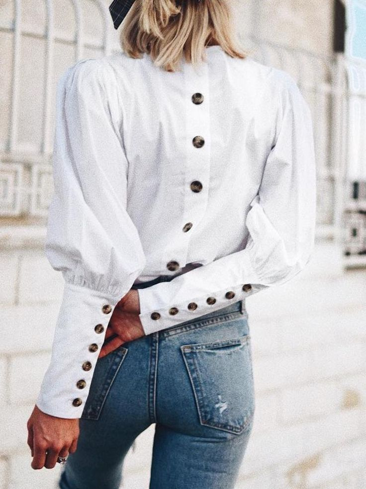 Solid Button Design Long Sleeve Blouse