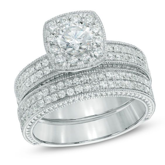 1 1 5 Ct T W Diamond Vintage Style Frame Bridal Set In 14k White Gold Zales Vintage Diamond Bridesmaid Jewelry Sets Diamond Bridal Sets