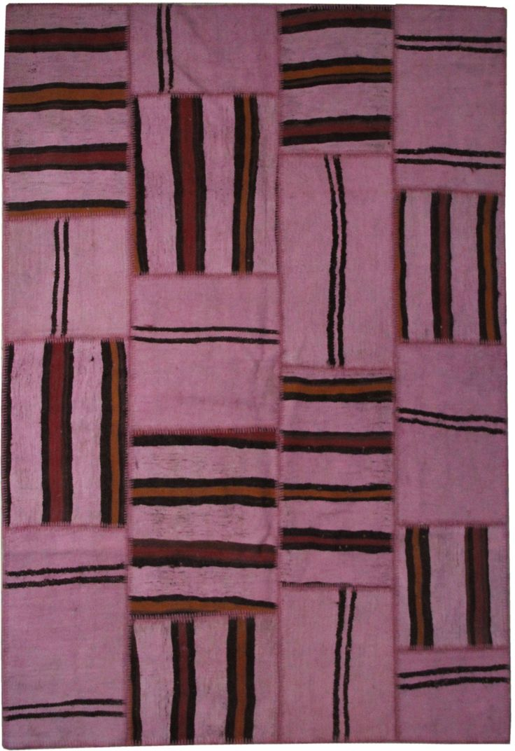 The Orient Bazaar - Pink Rugs Hemp Area Rugs 8x6 ft Striped Rugs Tribal Rugs Ethnic Rugs Overdyed Kilim Rug