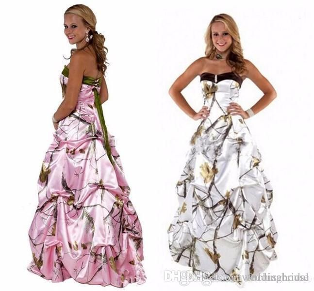 Strapless Pink Camo Wedding Dress Corser Ruched Country Garden