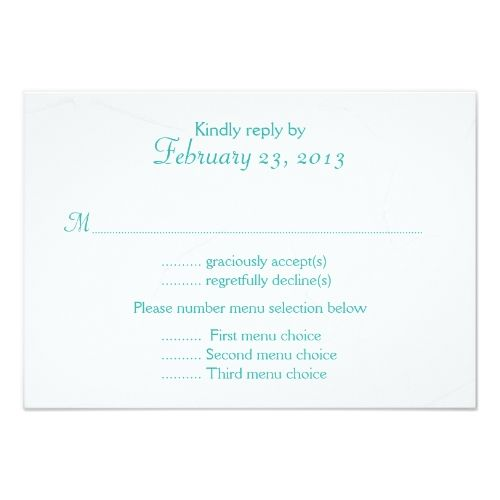 Blue Wedding Menu Aqua Blue Starfish Wedding Menu Reply Card