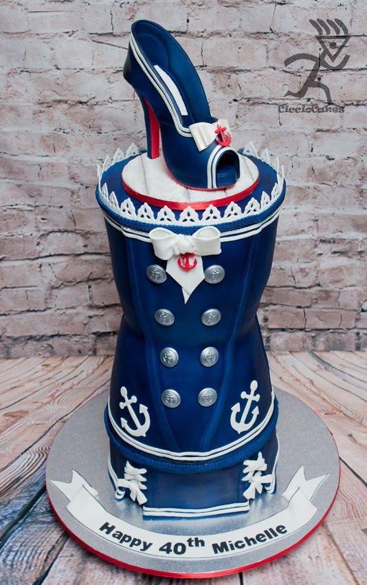 Nautical Rockabilly Corset Cake with matching Sugarpaste Stiletto