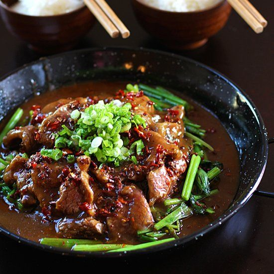 Sichuan beef in fiery sauce says it all. It is hot, spicy, flavorful, and numbing all at the same time.