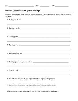 chemical and physical changes review worksheet physical change and worksheets. Black Bedroom Furniture Sets. Home Design Ideas