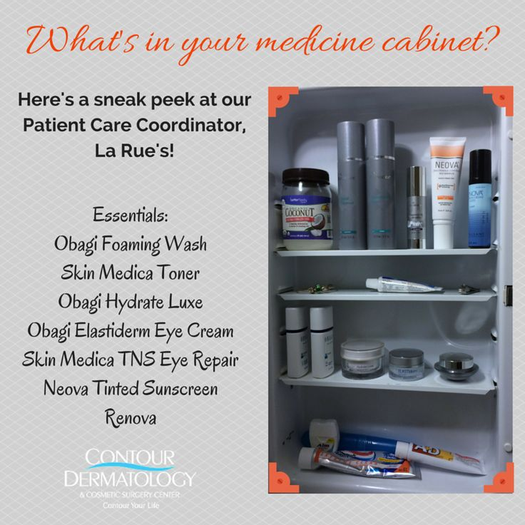 What's in your medicine cabinet? Do you have the essentials? https://contourderm.com #SkinMedica #Obagi #Neova