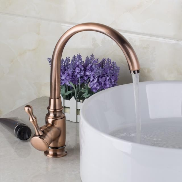 Swivel Antique Copper Solid Brass Kitchen Basin Single