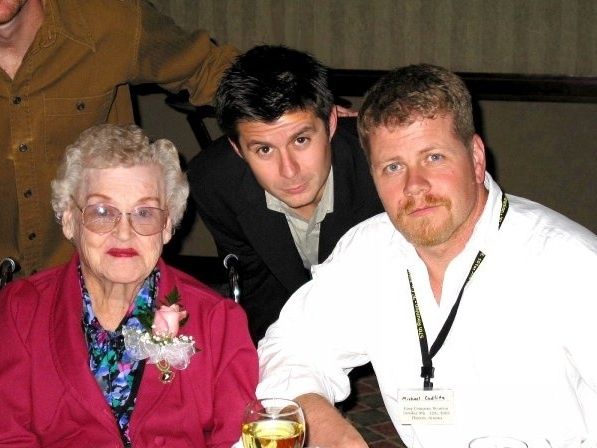 "Vera Randleman (widow of Denver ""Bull"" Randleman) with Rick Gomez and Michael Cudlitz"
