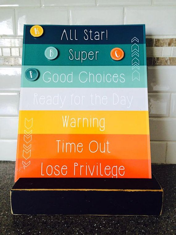 Printable Behavior Chart, DIY kids magnet clip chart, color coded toddler behavior reward sign, customizable 8x10 - INSTANT DOWNLOAD