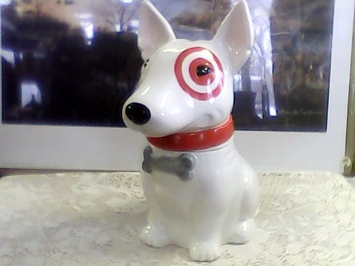 Target Bullseye Dog Cookie Jar Retro Kitchenalia