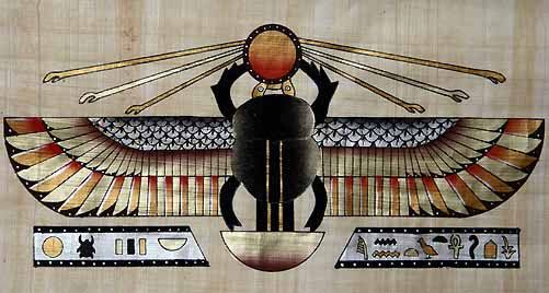 A winged Scarab is a powerful image from Egyptian mythology it can be found in  tomb paintings, manuscripts, hieroglyphic inscriptions on buildings and carvings. In addition scarab were made into jewelry for the living and deceased.