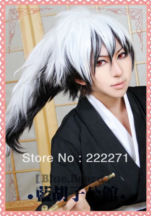 (39.99$)  Watch here  - Free Track Anime Nurarihyon no Mago Nura Rikuo Long Mixed White Black Full Lace Cosplay Wig Costume Heat Resistant + Cap