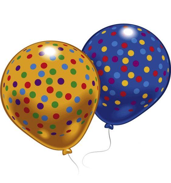 Ballonnen met gekleurde stippen 8 stuks. Een zakje met 4 gele en 4 blauwe ballonnen met leuke gekleurde stippen.
