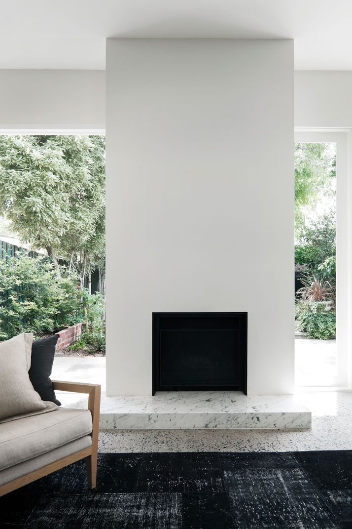 Fireplace with marble hearth. Prahran Residence by WONDER. © Christine Francis.