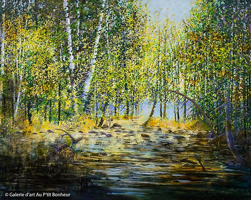 Bev Rodin, 'Summer Paddle to the Lake', 48'' x 60'' | Galerie d'art - Au P'tit Bonheur - Art Gallery