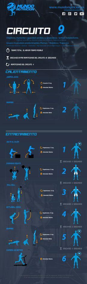 Circuito 9 - Mundo Nutrición. Circuito metabólico de #ejercicios para trabajar #piernas y hombros principalmente. Este circuito tiene como objetivo mejorar la resistencia, la potencia y el #rendimiento en general.