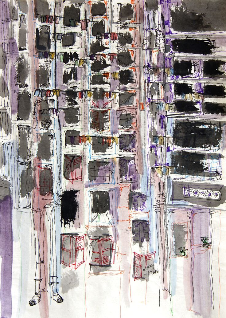 FINEARTSEEN - View time by Kah Wah Tan. An original modern cityscape mixed media drawing. The Home Of Original Art. Enjoy Free Delivery with every order. >