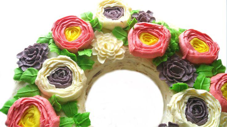 Весенний торт с цветами из масляного крема| Buttercream flowers spring  ...