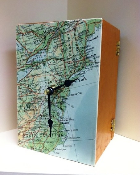 Map of Northeastern Seaboard Upcycled Cigar Box Clock by cadencedesigns