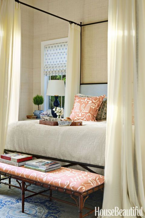 Romantic Canopy: Not only does the fragrance of gardenias drift in through this guest room's door, but a S&L Designs canopy bed draped with sheer panels in Calvin Fabrics' Clarity also enhance the romance and coziness here. Click through for more cozy bedrooms you'll want to lounge in all day!