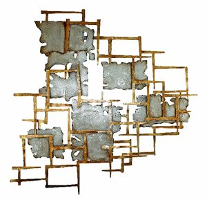 Gold and Platinum Abstract Metal Wall Art