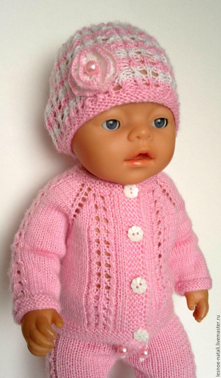 Купить Вязаный костюм для беби бон - розовый, одежда для беби бон