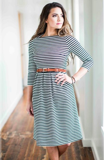 Striped fit and flare boatneck dress is perfect for any business casual or work …