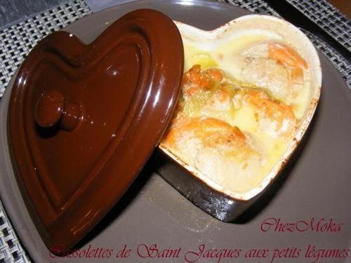 Cassolettes de Saint Jacques aux petits légumes.