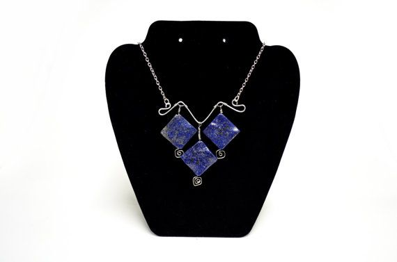 Lapis Lazuli Statement Necklace  Blue Lapis by FernsAreGreen