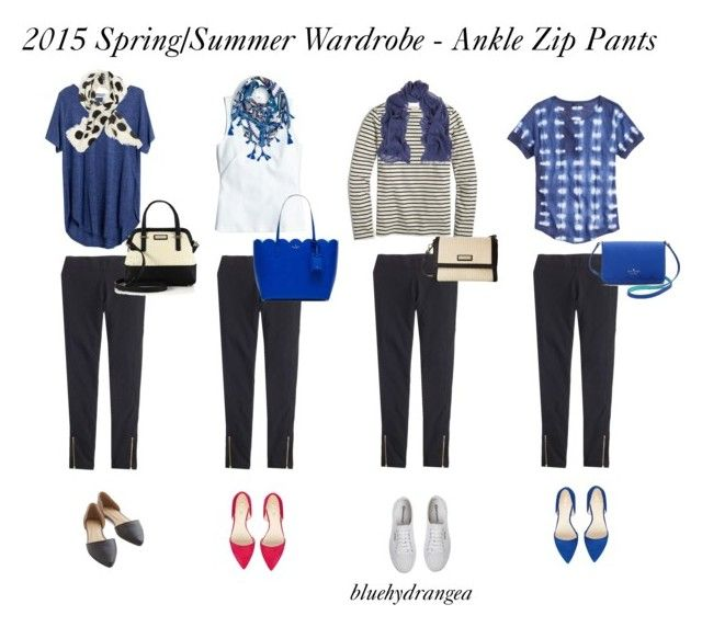 """Spring/Summer Wardrobe - Ankle Zip Pants"" by bluehydrangea ❤ liked on Polyvore featuring J.Crew, Madewell, Superga, Maje, Nine West and Kate Spade"