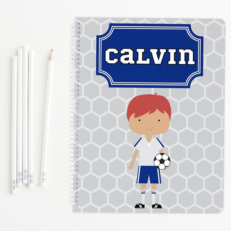 Boy soccer player personalized notebook, glossy spiral notebook, school notebook, perfect for back to school supplies or gifts for boys by PaperKStudios on Etsy