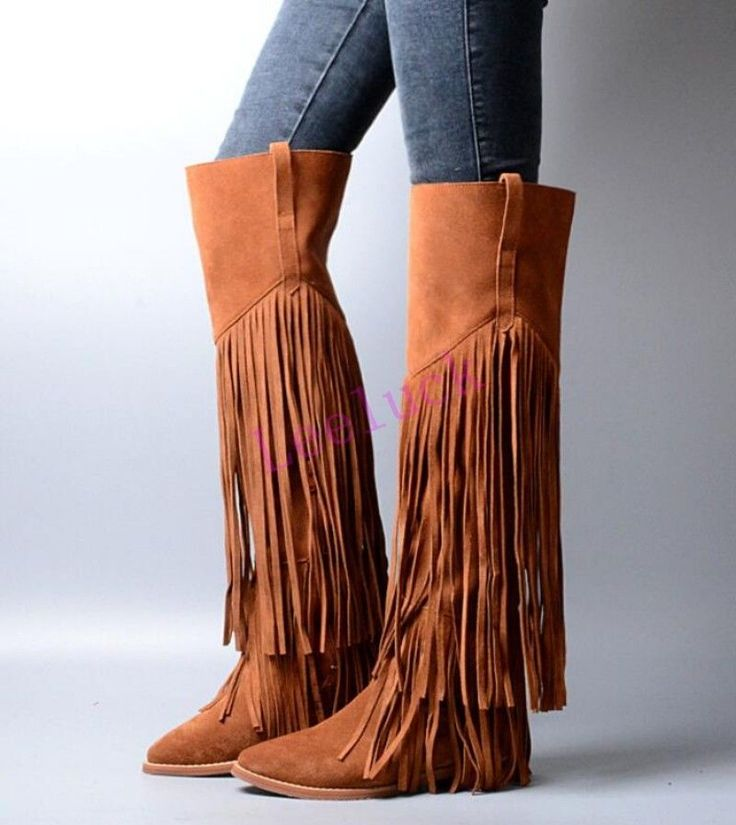 Retro Fringe Suede Knight Flats Womens Knee High Riding Boots Tassels Shoes Size | Clothing, Shoes & Accessories, Women's Shoes, Boots | eBay!
