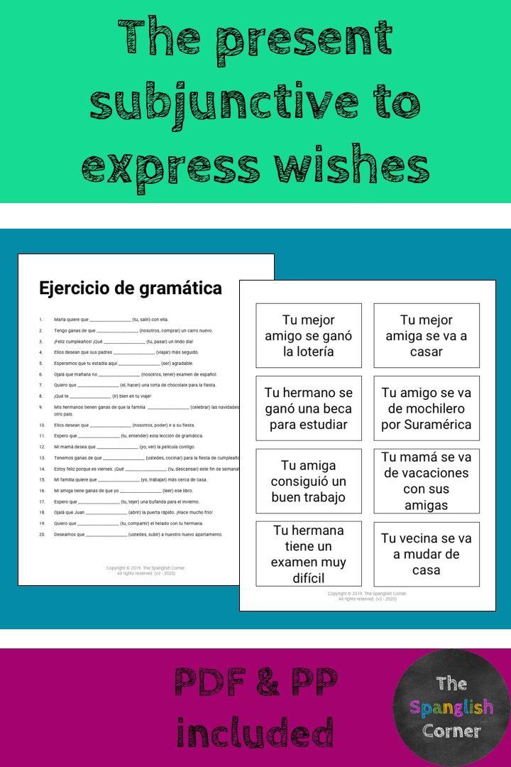 Present Subjunctive In Spanish Grammar Activities Spanish Grammar Activities Grammar Spanish subjunctive practice worksheets
