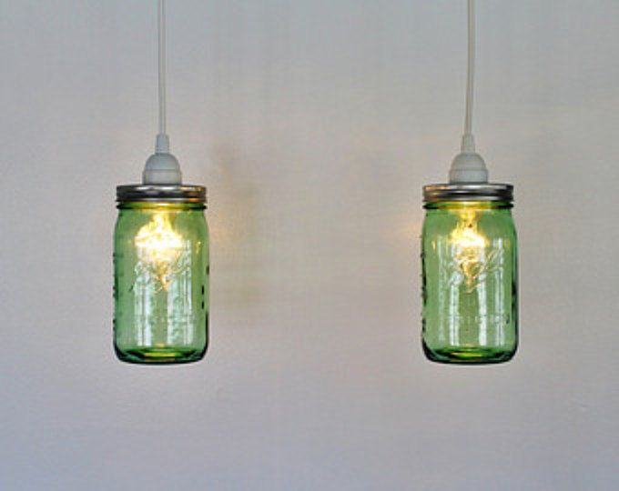 Pair Of Antique Aqua Blue Ball Mason Jar Hanging Lighting Fixtures