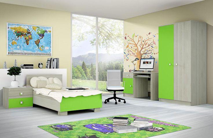 chambre enfant compl te contemporaine dorian coloris bois clair et vert chambre enfant ou. Black Bedroom Furniture Sets. Home Design Ideas