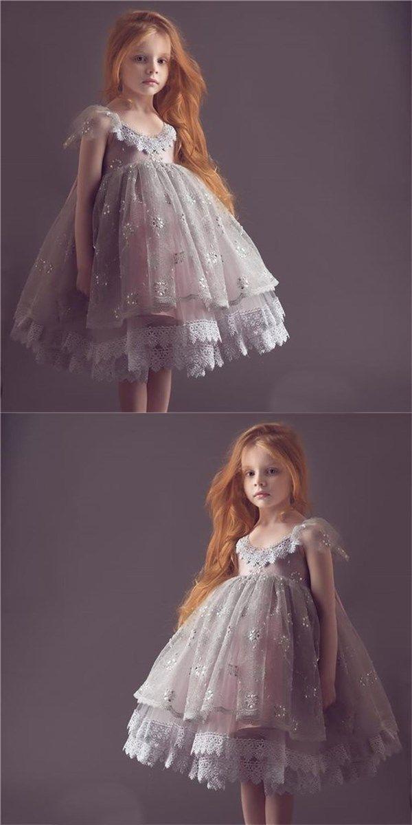 Cap Sleeves Lovely Cute Lace Soft Flower Girl Dresses, Fashion Little Girl Dresses, FG102 #sposabridal#flowergirldresses