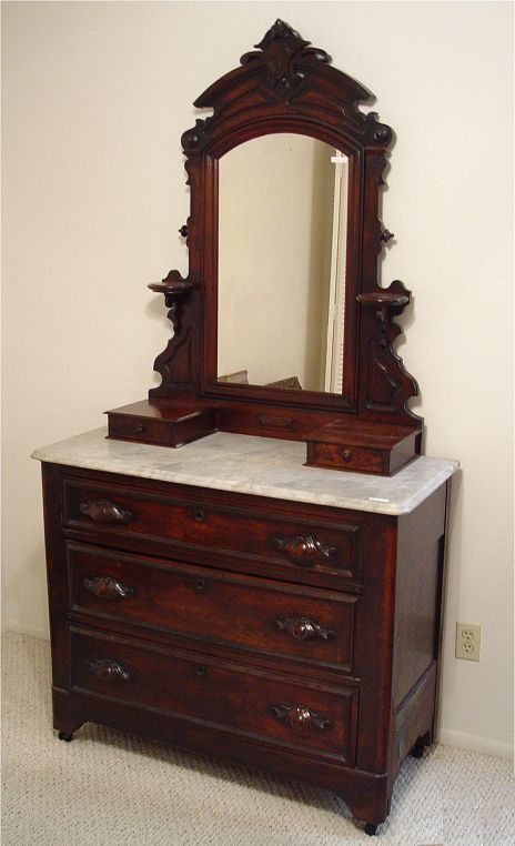 Antique Victorian Dressers With Mirrors | Victorian Walnut Marble Top Dresser (SOLD) | Paper Street Market