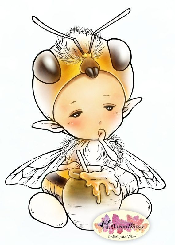 Digital Stamp – Honey Bee Sprite – Sleepy Honeybee with a Pot of Honey – Fantasy Line Art for Cards & Crafts by Mitzi Sato-Wiuff – Dilek Çubuk
